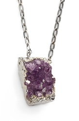 Nordstrom Long Semiprecious Stone Pendant Necklace Drusy Amethyst Silver