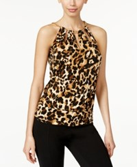 Thalia Sodi Printed Chain Neck Cutout Halter Top Only At Macy's Leopard