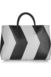 Anya Hindmarch Ebury Maxi Reflective Chevron Leather Tote Gray