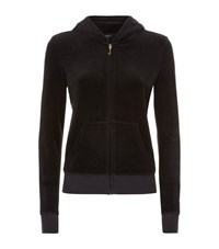 Juicy Couture Banner Crest Velour Hoodie Female Black