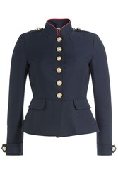Burberry London Wool Cotton Jacket With Embossed Buttons Blue