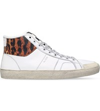 Saint Laurent Leopard Court Leather High Top Trainers White