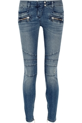 Balmain Moto Style Distressed Low Rise Skinny Jeans