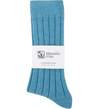 Johnstons Ribbed Cashmere Blend Socks Turq Mel