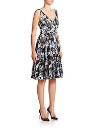 Erdem Gaby Floral Silk Dress Blue Black