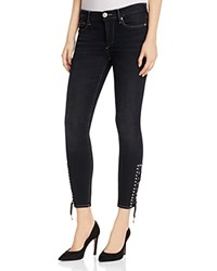 True Religion Halle Lace Up Crop Jeans In Black Sky