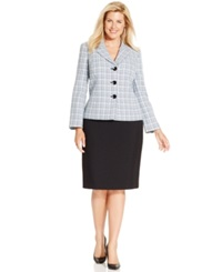 Le Suit Plus Size Three Button Tweed Jacket Skirt Suit