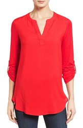 Pleione Petite Women's Split Neck Mixed Media Tunic Red Pepper