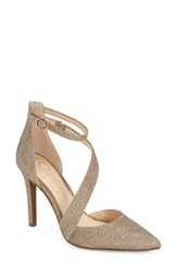 Women's Jessica Simpson 'Castana' Pointy Toe Pump Gold Fabric