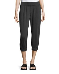 Neiman Marcus Active Pleated Cropped Jogger Pants Black