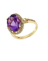 Effy 14K Yellow Gold Amethyst And Diamond Ring