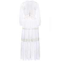 Zuhair Murad Floor Length Embroidered Gown With Crochet Knit Trim Erget