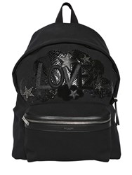 Saint Laurent Love Embroidered Cotton Twill Backpack