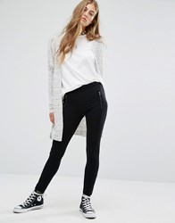 Pull And Bear Pullandbear Ponte Zip Detail Legging Black