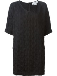 Quilted Shift Dress Black