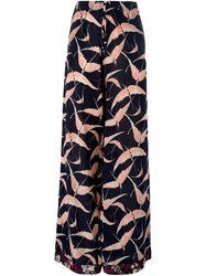 Valentino Bird Print Wide Leg Trousers Blue