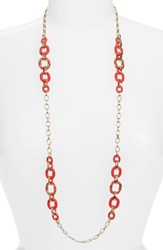 Women's Kate Spade New York 'Mod Moment' Station Necklace Geranium Pink