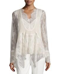 Haute Hippie Pintucked Chiffon Lace Blouse Antique
