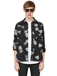 Cycle Pineapple Printed Cotton Canvas Shirt Black Grey