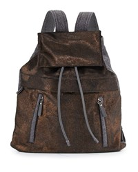 Calf Hair And Flannel Backpack Bronze Brunello Cucinelli