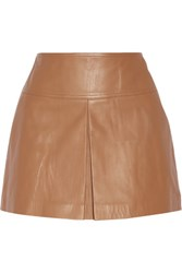 Alexander Wang T By Pleated Leather Mini Skirt Tan