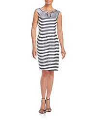 Ellen Tracy Embellished Sheath Dress Navy Ivory