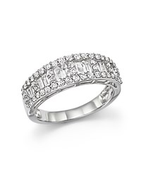 Bloomingdale's Diamond Baguette And Round Halo Band Ring In 14K White Gold 1.0 Ct. T.W.