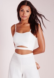 Missguided Crepe Cut Out Bralet Top White White