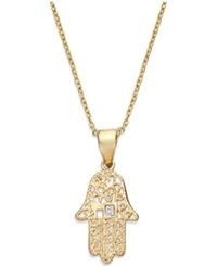 Victoria Townsend 18K Gold Over Sterling Silver Necklace Diamond Accent Hamsa Pendant
