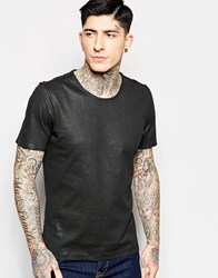Sisley Waxed Cotton T Shirt With Scoop Neck Black
