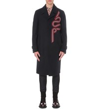 Dries Van Noten Ramsey Embroidered Wool Overcoat Navy