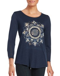 Lucky Brand Long Sleeve Mandala T Shirt American Navy
