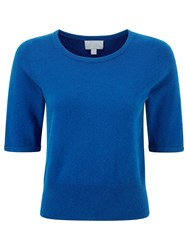 Pure Collection Gianni Crop Cashmere Jumper Oxford Blue