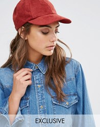 Reclaimed Vintage Suedette Baseball Cap Mahogany Red