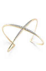 Elizabeth And James 'Wind Rose' Pave Crossover Cuff Gold