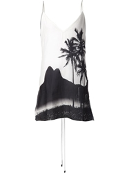 Osklen Palm Tree Print Tie Back Dress White