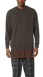 3.1 Phillip Lim Long Sleeve Pullover With Flannel Shirttail Dark Cocoa