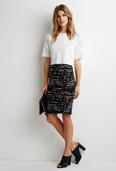 Forever 21 Abstract Striped Bodycon Skirt Black Ivory