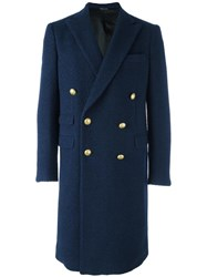 Andrea Pompilio Classic Double Breasted Coat Blue