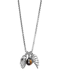 John Hardy Sterling Silver Legends Eagle Charm Necklace With Tiger's Eye 26 Brown Silver