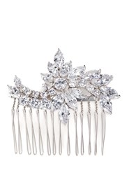 Cz By Kenneth Jay Lane Floral Cubic Zirconia Hair Comb Metallic White
