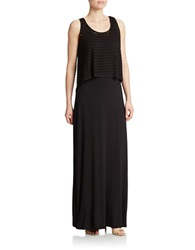 Spense Striped Popover Maxi Dress Black