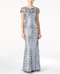 Calvin Klein Draped Back Sequined Gown Charcoal Silver