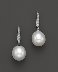 Bloomingdale's Cultured South Sea Pearl Drop Earrings With Diamonds In 18K White Gold 10.5Mm