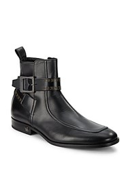 John Galliano Buckle And Strap Leather Booties Black