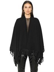 Maison Martin Margiela Fringed Wool Blend Knit Cape