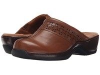 Softwalk Abby Laser Cognac Full Grain Nappa Women's Clog Mule Shoes Brown
