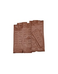 Forzieri Women's Tan Perforated Fingerless Leather Gloves Brown