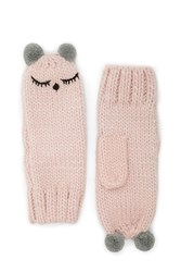 Forever 21 Sleepy Face Mittens Pink Grey