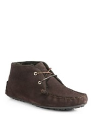 Bally Velkor Suede And Fur Ankle Boots Dark Brown